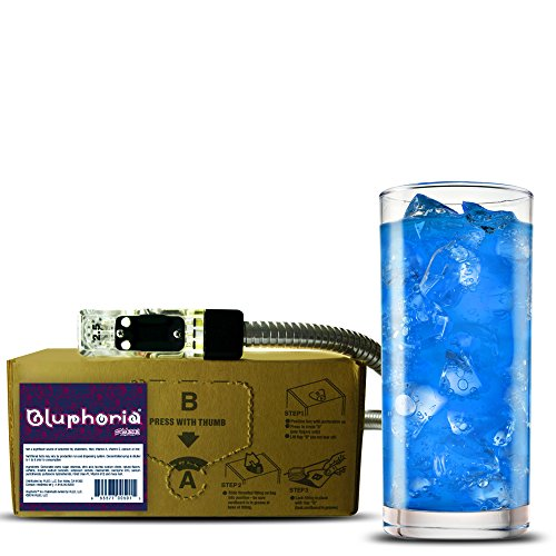 Bluphoria energy drink (1 Gallon Bag-in-Box Syrup Concentrate) - Box Pours 6 Gallons of Blue-Raspberry Energy Drink - Use with Bar Gun, Soda Fountain or SodaStream