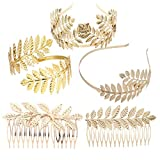 Lurrose 5 piezas tocado de hoja de oro romana diosa hoja corona vintage metal boda hoja lateral peine con brazalete
