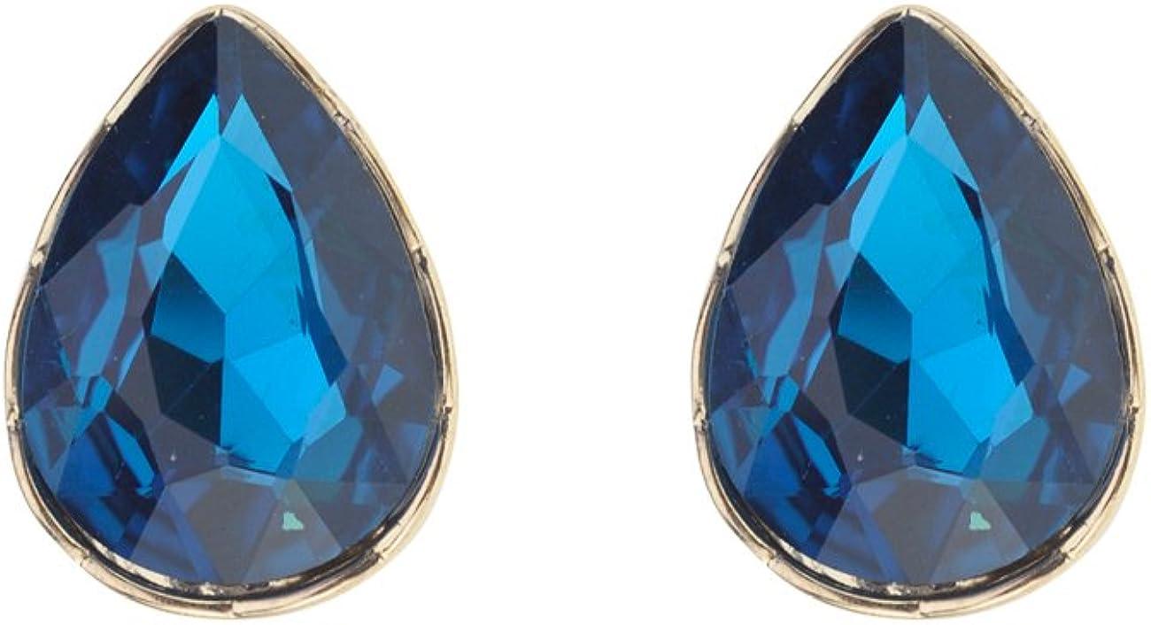 Women's Teardrop Stone Pear Cut Solid Border Evening Clip On Earrings