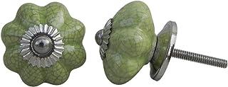 8 pieza de cerámica artesanal Indianshelf crepitar Verde Melón Cajonera APARADOR Aparador pomos de puertas armario tira de...