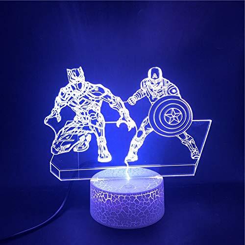 Superhelden Film Marvel Hero Captain America und die Panther Der Wecker 3D LED Nachtlicht USB Tischlampe Kinder Geburtstagsgeschenk Nachttisch Dekoration