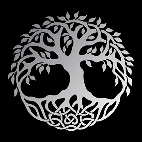Celtic Tree of Life Vinyl Window Sticker Decal Car Wall Irish - Multiple Sizes and Colors - Die Cut No Background (Silver Matte, 5' Tall)