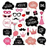 Birthday Photo Booth Props Kit - Happy Birthday Party Favors Supplies Bday Party Decoration Set with Real Glitter Cute Bday Designs for Women or Girls - Easy to Assemble 30 Pieces (Rose Gold)