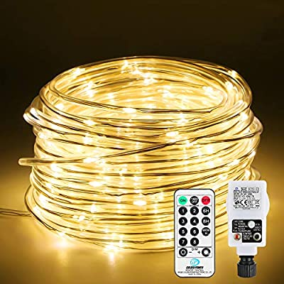 Rope Light 5mm, Infankey 33FT 100 LED Strip Lights USB Power, 16 Colors & 4 Modes, Remote Control & Timer, IP68 Waterproof, Colour Changing Lights for Garden Gazebo Stairs Christmas Tree Party