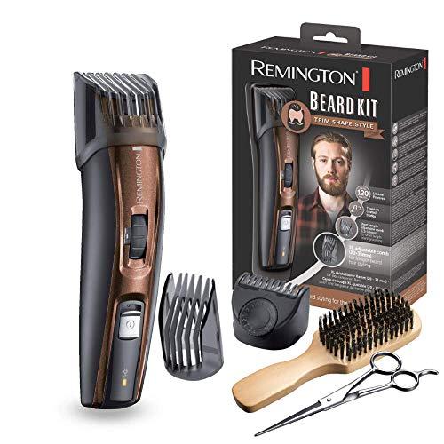 Remington Coffret Rasage, Tondeuse Barbe, Lames Titanium Auto-Affûtées, Sabots Ajustables, Batterie Lithium - MB4046 Beard Kit