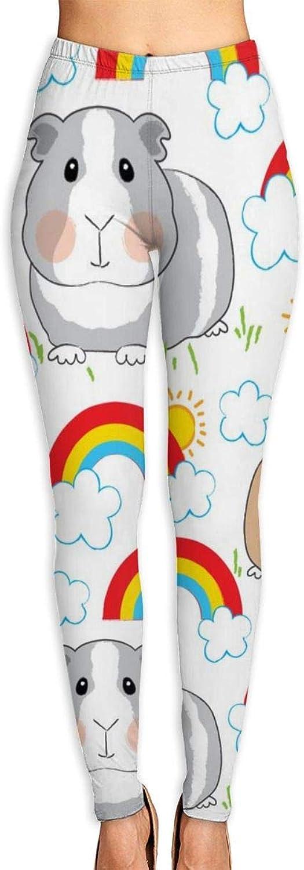 Beautytt Guinea Pigs and Rainbows on White High Waist Yoga Pants Tummy Control Workout Pants for Women Stretch Yoga Leggings