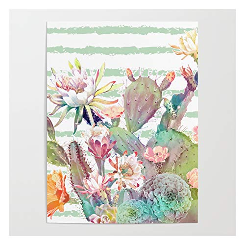 Society6 Watercolor Cactus, Floral and Stripes Design by Inovarts on Art Poster - 30' x 40'