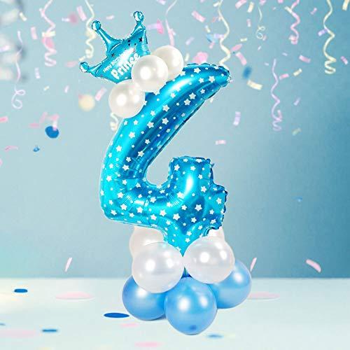 N/A Ldawy Anzahl Luftballons Set Große Elegante Blaue Zahl Geburtstagsfeier Dekorationen Für Geburtstag Jubiläum Party Dekor