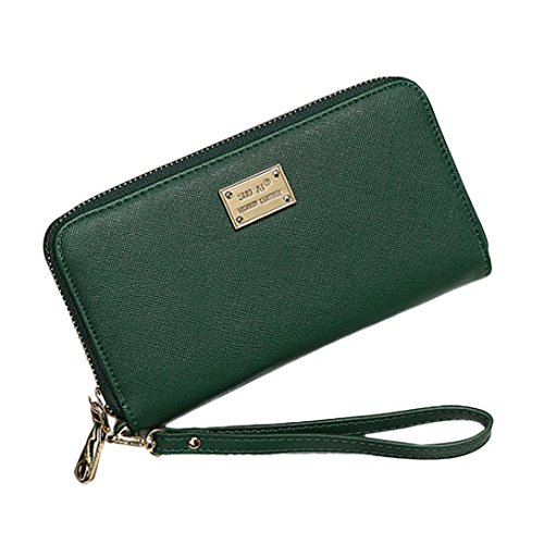 Geldbörse Damen IHRKleid® Leder Elegant Süß Handtasche Portemonnaie Geldbeutel (Grün)
