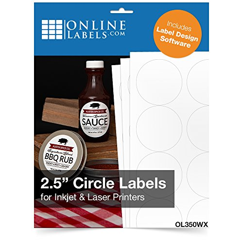 2.5 Inch Round Labels - Pack of 1,200 Circle Stickers, 100 Sheets - Inkjet/Laser Printer - Online Labels