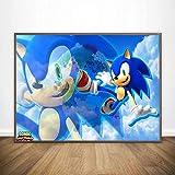 KWzEQ Cartel de Sonic Nuevo Mural de Graffiti de Brillo Azul sobre Lienzo póster decoración de la habitación de los niños,Pintura sin Marco,30X45cm