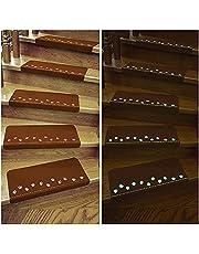 階段マット 滑り止め 蛍光 防音 キズ 防止 四季通用 丸洗える 転倒防止 階段クッション 滑り止めシート 15枚入り