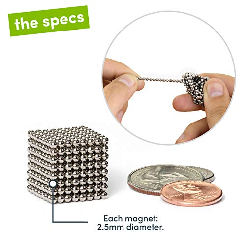 Speks Original Nickel Set of 512 (2.5mm) Magnetic Balls - Mashable Smashable Buildable Fun Stress Relief Desk Toy for Adults