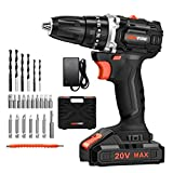 LOMVUM 18V Brushless Cordless (20V Max) Drill Battery Powered 2 Speeds, 24 Accessories, Max Torque 38Nm...