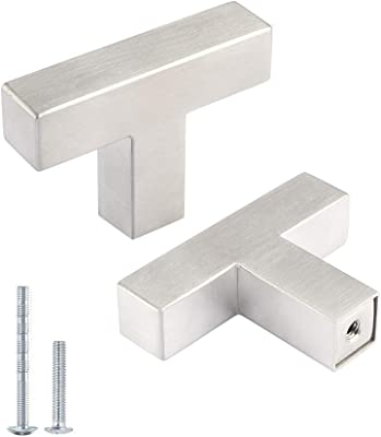 Kasten 10 Pack Single Hole Drawer Pulls Nickel Stainless Steel Cabinet Pulls and Knobs Square Bar Kitchen Hardware Cabinet Handles, 2 inch/50mm Length Brushed Nickel