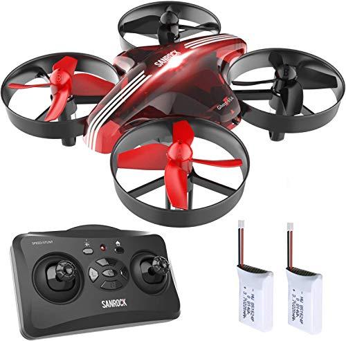 Sanrock GD65A Mini Drone voor kinderen en beginners, RC drone quadrocopter met hoogte, koploze modus, eenknops-terugkeerbaar, beste speelgoed drone voor kinderen, met extra batterij, rood