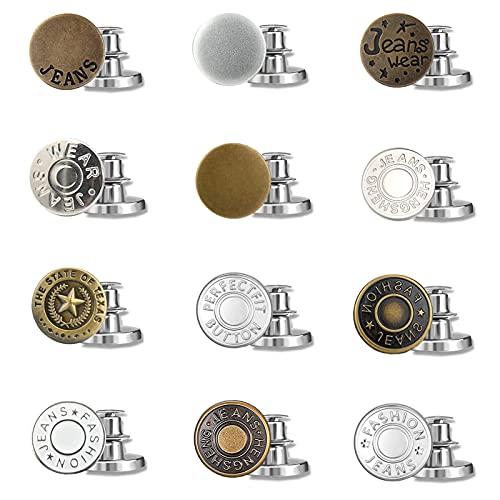 YUQIN 12 Pezzi Bottoni Jeans,Bottoni Jeans Metallo,Bottoni Jeans Staccabili,per Riparazione Jeans lavori di Cucito,Bricolage Fai-da-Te