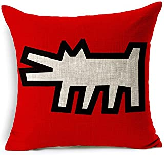 TAOSON Keith Haring Painting Dog Cotton Linen Blend Square Toss Pillowcase Cushion Cover Pillow Case with Hidden Zipper Closure Only Cover No Insert 18x18 Inch 45x45cm -60706