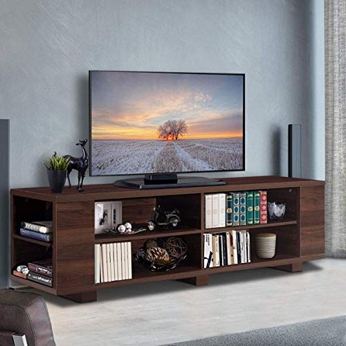 Tangkula TV Stand Modern Wood Storage Console Entertainment Center for TV up to 60', Home Living Room Furniture with 8 Open Storage Shelves (Walnut)