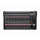 tbaobei-baby controller dj intelligente 16-channel mixer stage performance karaoke con usb riverbero monitor supporto bluetooth usb/sd card (color : black, size : 630x340x40mm)