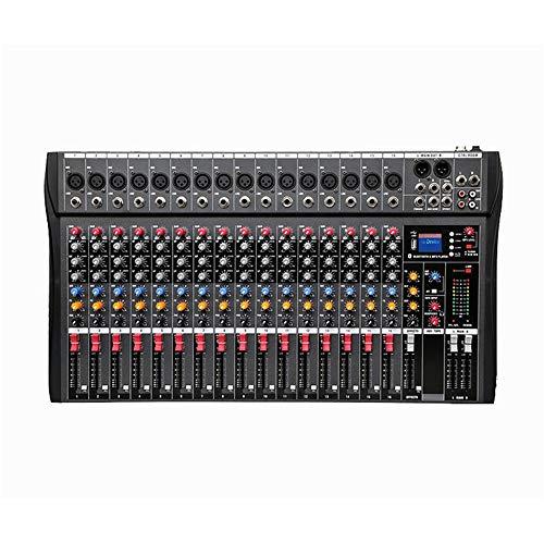 Mesas de mezclas Mezclador de 16 canales Karaoke Performance Performance Stage con USB Bluetooth Reverb Monitor de efectos Sintonizador profesional de 16 canales Soporte Tarjeta USB / SD para grabar D