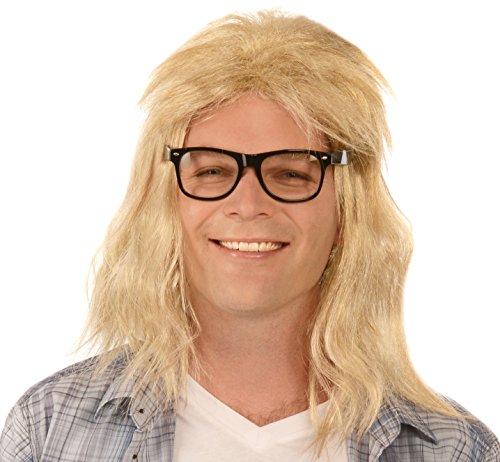 Kangaroo Men's Long Blonde Guitar Player Wig & Glasses