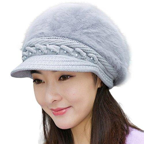FAMILIZO Las mujeres del invierno casquillo caliente hizo punto el sombrero de la boina Baggy Beanie Hat Cap de esquí Slouch (Gris)