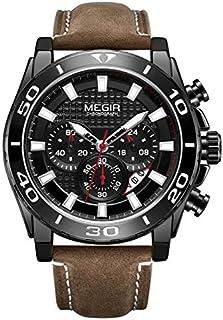 ساعة كوارتز للرجال من ميجر بشاشة عرض كرونوغراف وسوار من الجلد - طراز 2094G