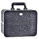 Joligrace Makeup Train Case Professional 12 inch Large Black Organizer Box Cosmetic Travel Storage Portable Lockable with 4 Trays and Mirror
