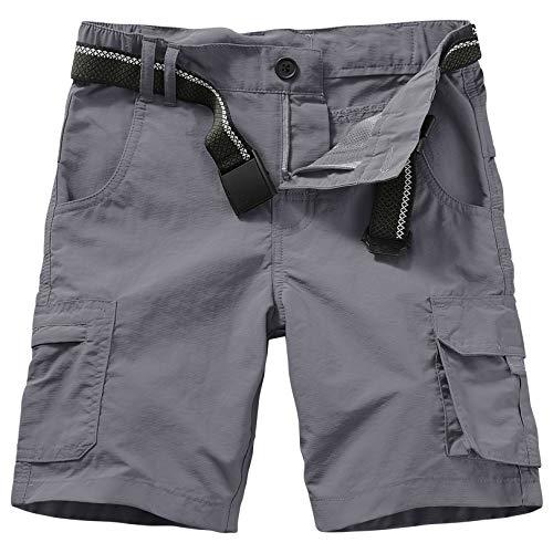 Asfixiado Kids' Boys' Cargo Shorts Outdoor Quick Dry Elastic Waist Fishing Camping Casual Fishing Cargo Shorts #9048 Grey-S