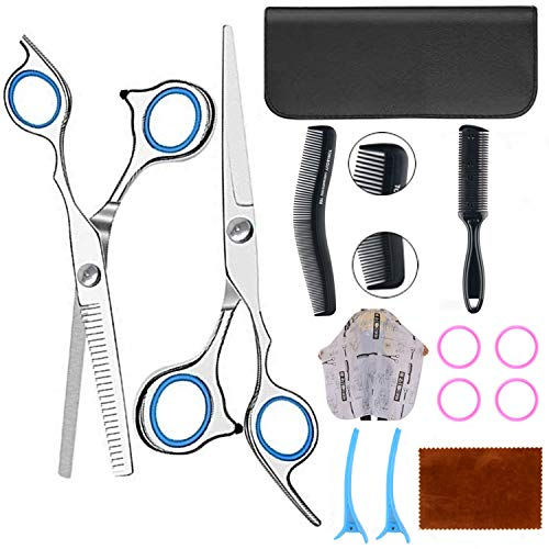 9 Pcs Hair Cutting Scissors Set Professional Barber Scissors Kit, Hair Shears, Thinning Shears, Hair Razor Comb, Clips, Barber Cape, Stainless Steel Hairdressing Shears Kit for Salon/Barber/Home