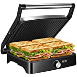 OSTBA Panini Press Grill Indoor Grill Sandwich Maker with Temperature Control, 4 Slice Non-stick Versatile Grill, Opens 180 Degrees to Fit Any Type or Size of Food, Removable Drip Tray, 1200W