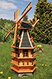 Deko-Shop-Hannusch Windmühle 3 stöckig kugelgelagert 1,40m Bitum dunkel mit Beleuchtung Solar,...