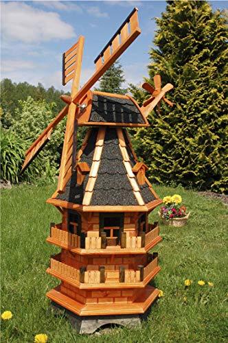 Deko-Shop-Hannusch Windmühle 3 stöckig kugelgelagert 1,40m Bitum dunkel mit Beleuchtung Solar, Solarbeleuchtung, mit extra Windrad hinten am Kopf, imprägniert, Kugellager einstellbar