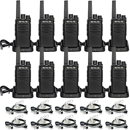 Retevis RT68 Two-Way Radios Long Range, Walkie Talkies for Adults, 2 Way Radio with Earpiece,Walkie Talkie Rechargeable with Charging Base,for Manufacturing Restaurant Healthcare Government(10 Pack)