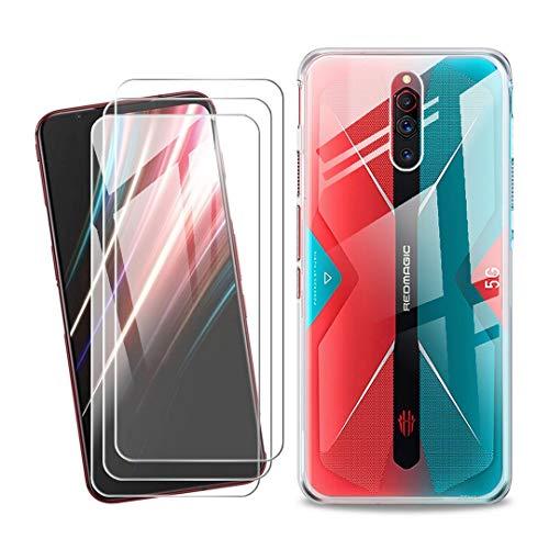SCDMY Handyhülle für ZTE Nubia Red Magic 5G Hülle + [3 Stück] Panzerglas Bildschirmfolie Schutzfolie, Weich Transparent Schutzhülle Starker Schutz Silikon Hülle Cover TPU Schale (6.65