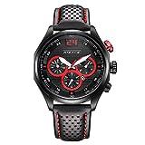 iWatch Hombre Reloj de pulsera Sport Reloj analógico de cuarzo piel 30m Resistente al agua LED de luz Fecha Rojo Negro 009–2
