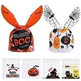 DORART 500 Sacchetto Regalo per Caramelle di Halloween, 400 Piccoli Sacchetti Autoadesivi di Plastica Trasparente per Biscotti + 100 Buste Orecchie di Coniglio