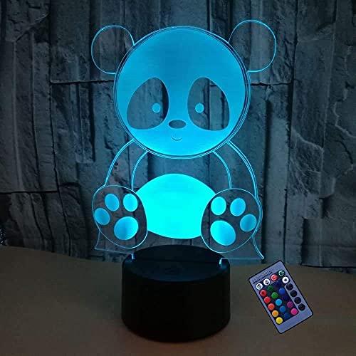 Ilusión Óptica 3D Panda Luz Nocturna 16 Colores Que Cambian Alimentación Usb Control Remoto Interruptor Táctil Lámpara De Decoración Lámpara De Escritorio De Mesa Led Regalo De Cumpleaños Para Niños