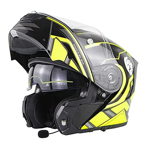 ABDOMINAL WHEEL Casco de Motocicleta Integrado Bluetooth,Casco Moto Modular con Visera Solar Doble,ECE 22-05 Aprobación Casco Motocicleta Integrado con Función de Respuesta Automática F,M=55~56CM