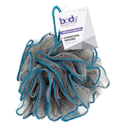 Body Benefits - Pouf da bagno, infuso al carbone – moderata esfoliazione – schiuma e disintossicazione – 3 pezzi