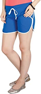Campus Sutra Blue Pro Solid Women's Chino Shorts with Tipping Blue