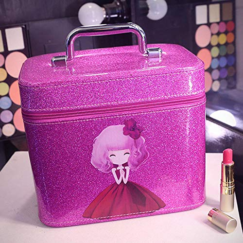 Sac cosmétique PU Femmes composent Sac de Dessin animé Mignon Girls22 * 15 * 17cm-Purple_22 * 15 * 17cm