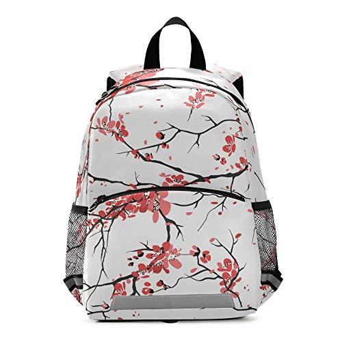 RELEESSS - Mochila para niños con diseño de flores de cerezo con correa en el pecho, mochila para niños y niñas
