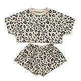 VICKY-HOHO Günstige Kinderkleidung Sommer, 7-8 Jahre Kleinkind Kinder Baby Mädchen Outfits Kleidung Leopard T-Shirt Tops + Shorts 2PCS Set Unisex Chic Geschenk Kindertag (Beige)