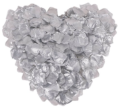 Jasmine 1000 Pieces Rose Petals Wedding Party Flower Decoration,Silver