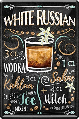 Metalen bord White Russian Wodka cocktail recept 20 x 30 cm bar party kelder 190