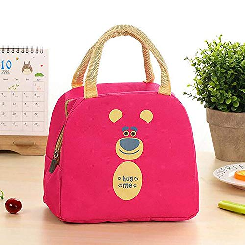 Majik Zipper Thermal Lunch Bag for Girls and Boys for School, Office, College for Carry Lunch Box (Pink)