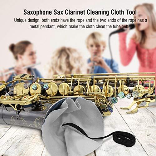 Limpiador de hisopo de saxofón indeformable Paño de limpieza de clarinete Diseño único para saxofonista para saxo alto para clarinete para flauta(gray)