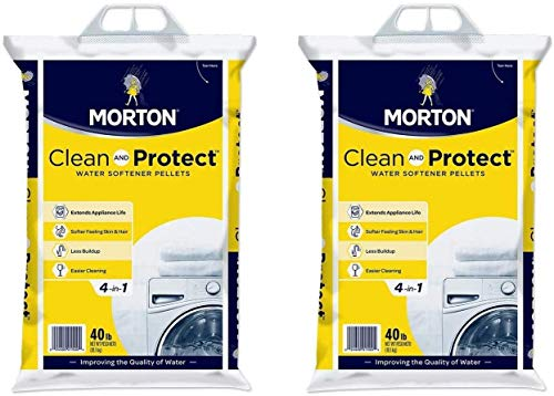 Morton Clean and Protect II Water Softening Pellets, 40-Pound, White, 40 Pound (White, 2 Pack)